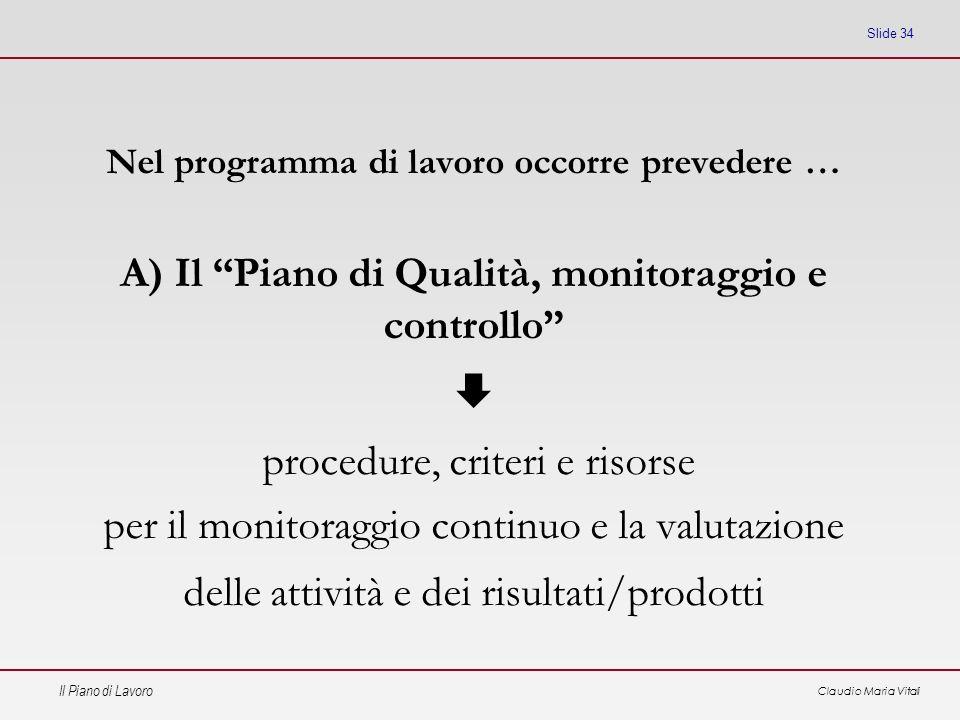 Il Piano di Lavoro Claudio Maria Vitali Slide 34 Nel programma di lavoro occorre prevedere … A) Il Piano di Qualità, monitoraggio e controllo procedur