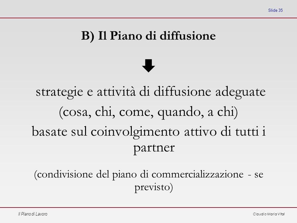 Il Piano di Lavoro Claudio Maria Vitali Slide 35 B) Il Piano di diffusione strategie e attività di diffusione adeguate (cosa, chi, come, quando, a chi