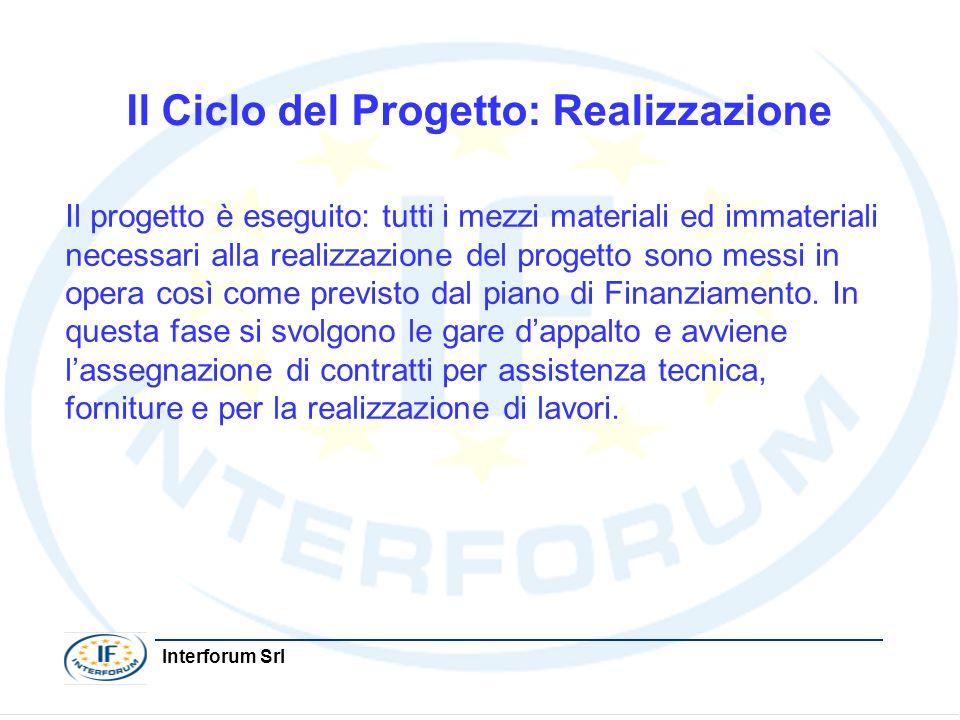 Interforum Srl Il Ciclo del Progetto: Realizzazione Il progetto è eseguito: tutti i mezzi materiali ed immateriali necessari alla realizzazione del pr