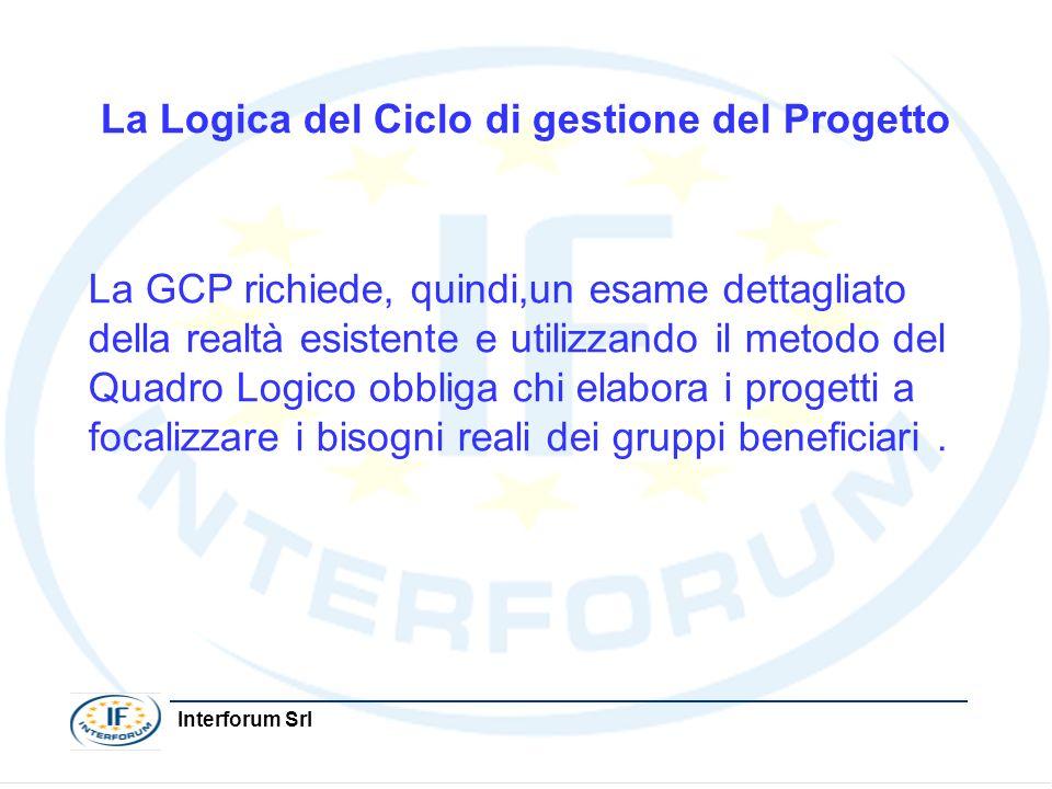 Interforum Srl La Logica del Ciclo di gestione del Progetto La GCP richiede, quindi,un esame dettagliato della realtà esistente e utilizzando il metod