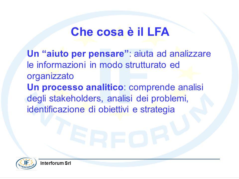 Interforum Srl Che cosa è il LFA Un aiuto per pensare: aiuta ad analizzare le informazioni in modo strutturato ed organizzato Un processo analitico: c