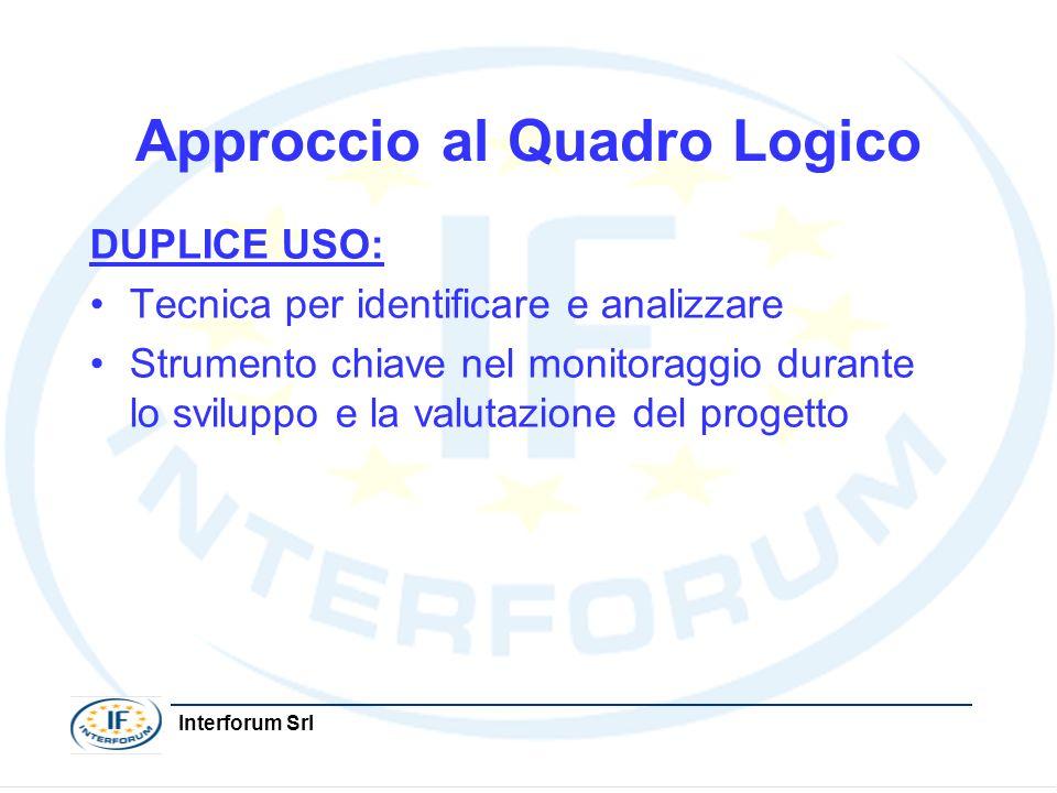 Interforum Srl Approccio al Quadro Logico DUPLICE USO: Tecnica per identificare e analizzare Strumento chiave nel monitoraggio durante lo sviluppo e l