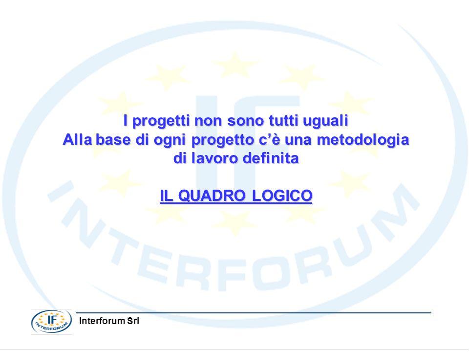 Interforum Srl I progetti non sono tutti uguali Alla base di ogni progetto cè una metodologia di lavoro definita IL QUADRO LOGICO