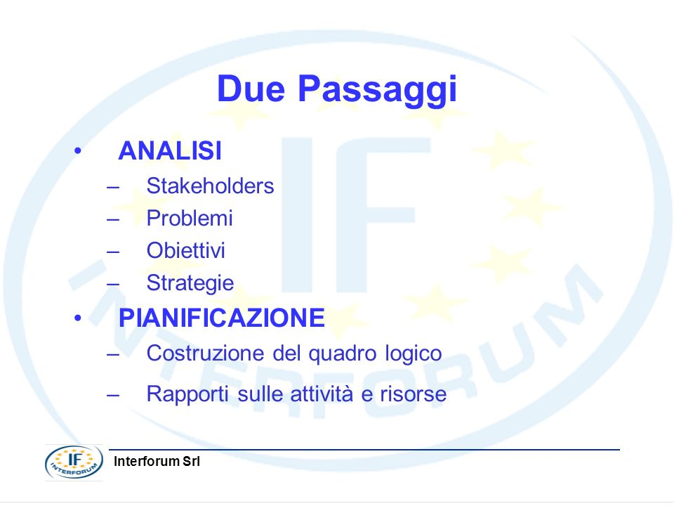 Interforum Srl Due Passaggi ANALISI –Stakeholders –Problemi –Obiettivi –Strategie PIANIFICAZIONE –Costruzione del quadro logico –Rapporti sulle attivi