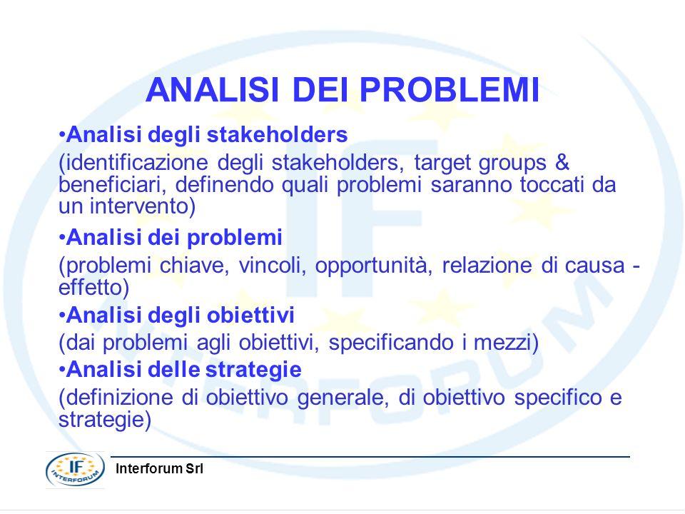 Interforum Srl ANALISI DEI PROBLEMI Analisi degli stakeholders (identificazione degli stakeholders, target groups & beneficiari, definendo quali probl