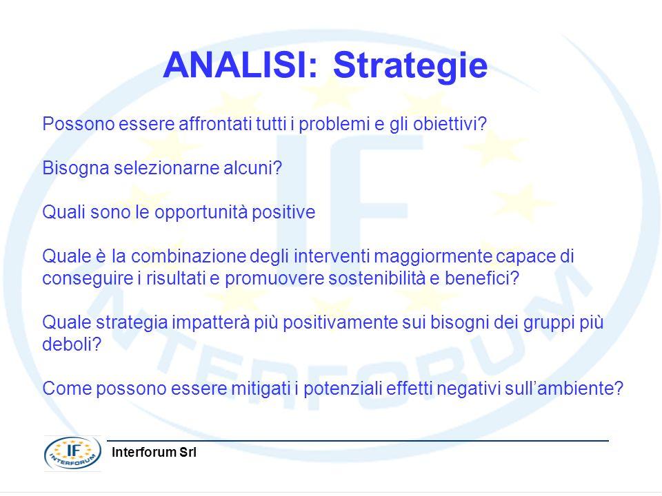 Interforum Srl ANALISI: Strategie Possono essere affrontati tutti i problemi e gli obiettivi? Bisogna selezionarne alcuni? Quali sono le opportunità p