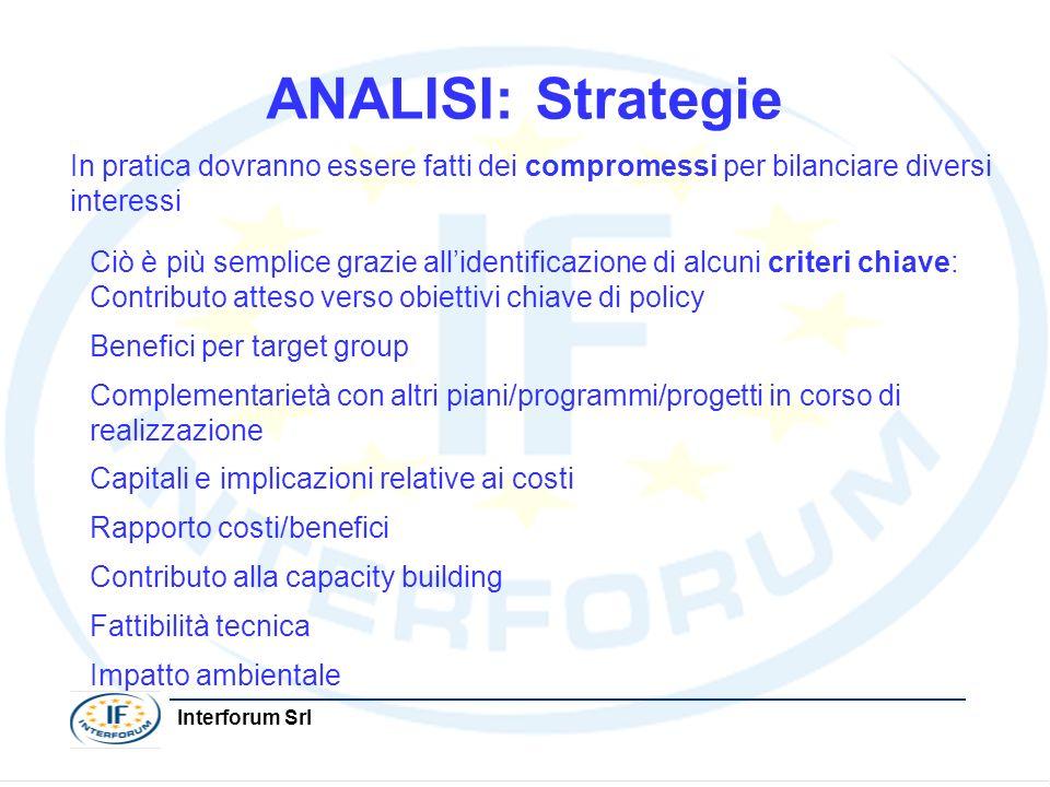 Interforum Srl ANALISI: Strategie In pratica dovranno essere fatti dei compromessi per bilanciare diversi interessi Ciò è più semplice grazie allident