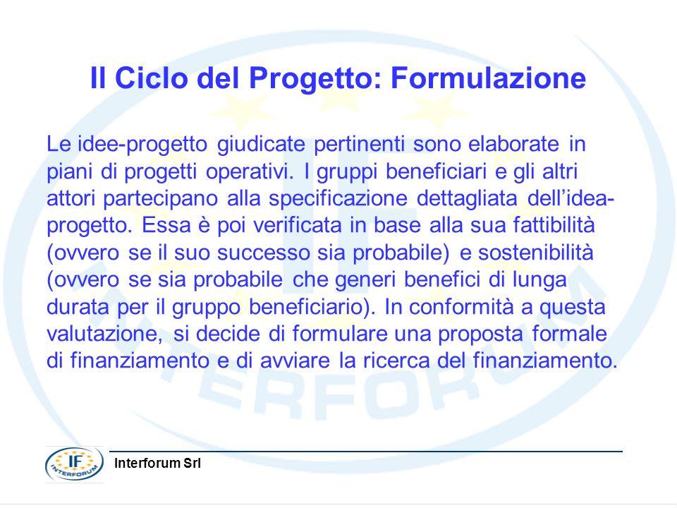 Interforum Srl Il Ciclo del Progetto: Formulazione Le idee-progetto giudicate pertinenti sono elaborate in piani di progetti operativi. I gruppi benef