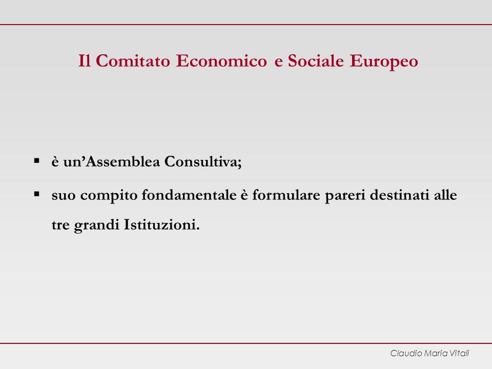 Claudio Maria Vitali Il Comitato Economico e Sociale Europeo è unAssemblea Consultiva; suo compito fondamentale è formulare pareri destinati alle tre grandi Istituzioni.
