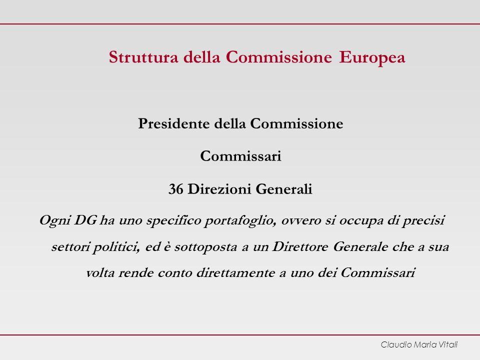 Claudio Maria Vitali Struttura della Commissione Europea Presidente della Commissione Commissari 36 Direzioni Generali Ogni DG ha uno specifico portafoglio, ovvero si occupa di precisi settori politici, ed è sottoposta a un Direttore Generale che a sua volta rende conto direttamente a uno dei Commissari