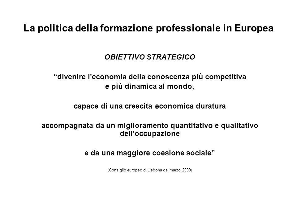 La politica della formazione professionale in Europea OBIETTIVO STRATEGICO divenire l'economia della conoscenza più competitiva e più dinamica al mond