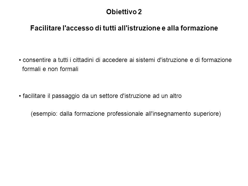 Obiettivo 2 Facilitare l'accesso di tutti all'istruzione e alla formazione consentire a tutti i cittadini di accedere ai sistemi d'istruzione e di for