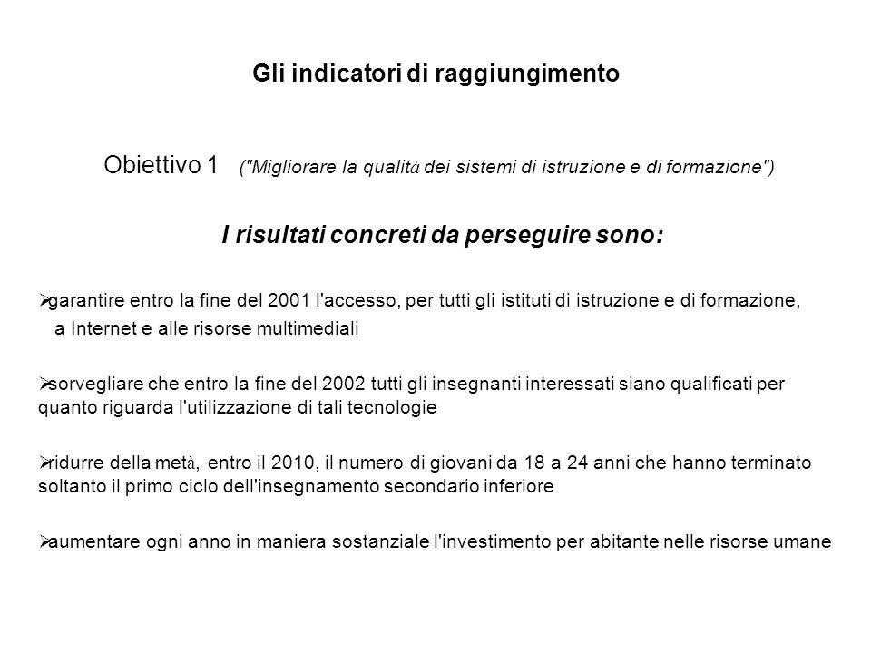 Gli indicatori di raggiungimento Obiettivo 1 (