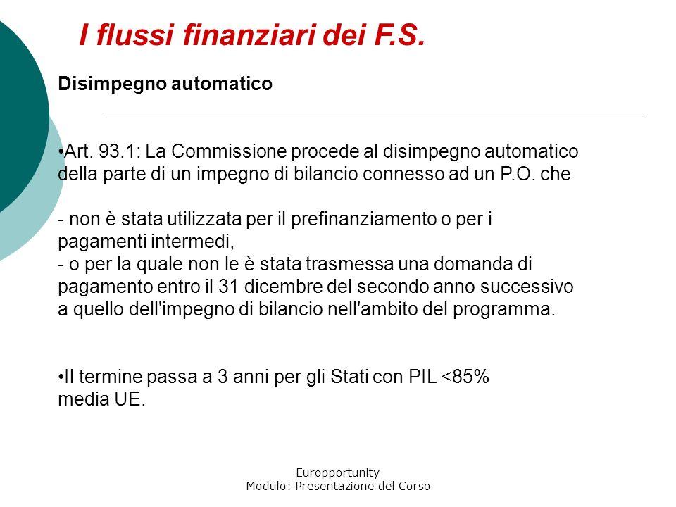 Europportunity Modulo: Presentazione del Corso I flussi finanziari dei F.S. Disimpegno automatico Art. 93.1: La Commissione procede al disimpegno auto