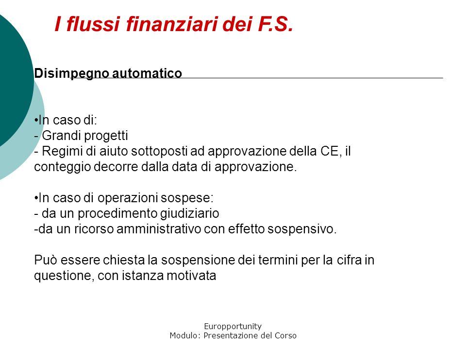 Europportunity Modulo: Presentazione del Corso I flussi finanziari dei F.S. Disimpegno automatico In caso di: - Grandi progetti - Regimi di aiuto sott