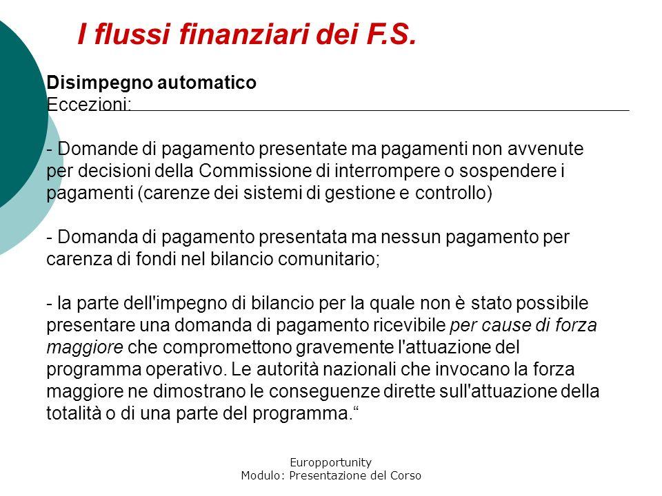 Europportunity Modulo: Presentazione del Corso I flussi finanziari dei F.S. Disimpegno automatico Eccezioni: - Domande di pagamento presentate ma paga