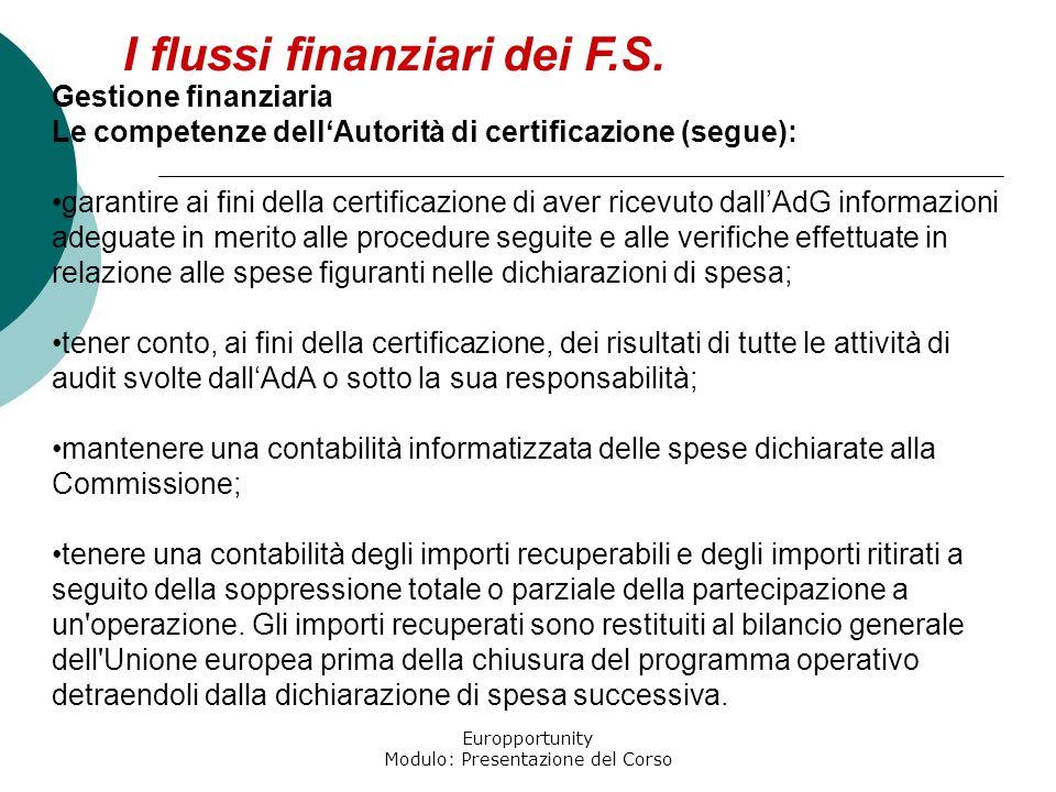 Europportunity Modulo: Presentazione del Corso I flussi finanziari dei F.S. Gestione finanziaria Le competenze dellAutorità di certificazione (segue):