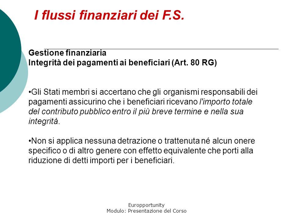 Europportunity Modulo: Presentazione del Corso I flussi finanziari dei F.S. Gestione finanziaria Integrità dei pagamenti ai beneficiari (Art. 80 RG) G