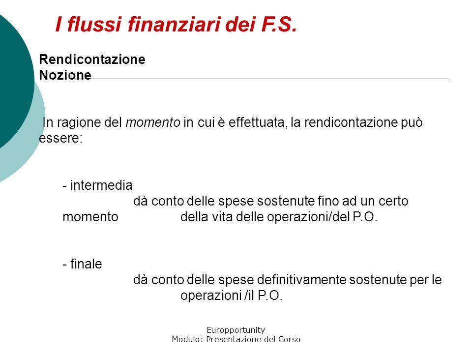 Europportunity Modulo: Presentazione del Corso I flussi finanziari dei F.S. Rendicontazione Nozione In ragione del momento in cui è effettuata, la ren