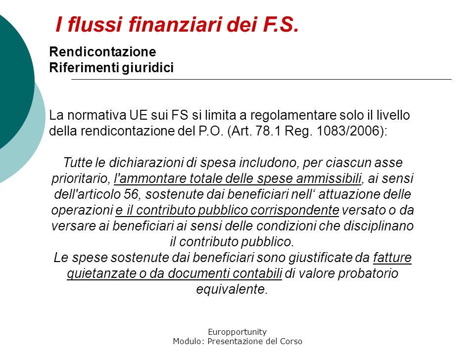Europportunity Modulo: Presentazione del Corso I flussi finanziari dei F.S. Rendicontazione Riferimenti giuridici La normativa UE sui FS si limita a r