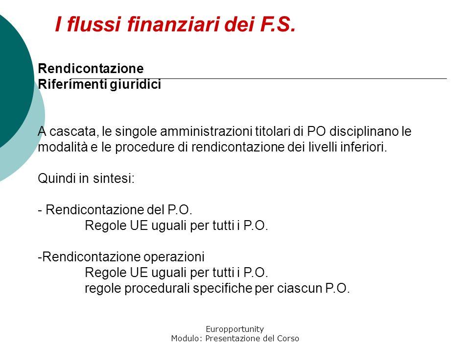Europportunity Modulo: Presentazione del Corso I flussi finanziari dei F.S. Rendicontazione Riferimenti giuridici A cascata, le singole amministrazion