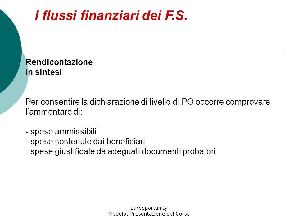 Europportunity Modulo: Presentazione del Corso I flussi finanziari dei F.S. Rendicontazione in sintesi Per consentire la dichiarazione di livello di P