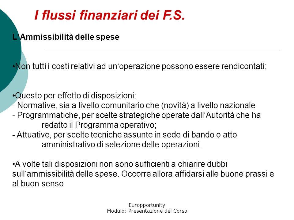 Europportunity Modulo: Presentazione del Corso I flussi finanziari dei F.S. LAmmissibilità delle spese Non tutti i costi relativi ad unoperazione poss