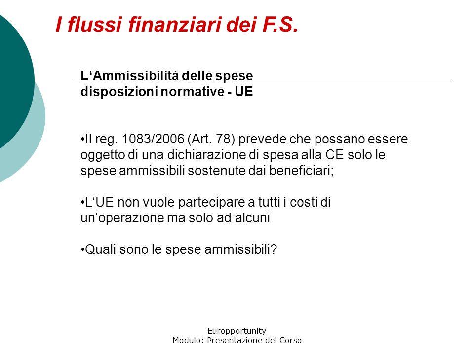 Europportunity Modulo: Presentazione del Corso I flussi finanziari dei F.S. LAmmissibilità delle spese disposizioni normative - UE Il reg. 1083/2006 (