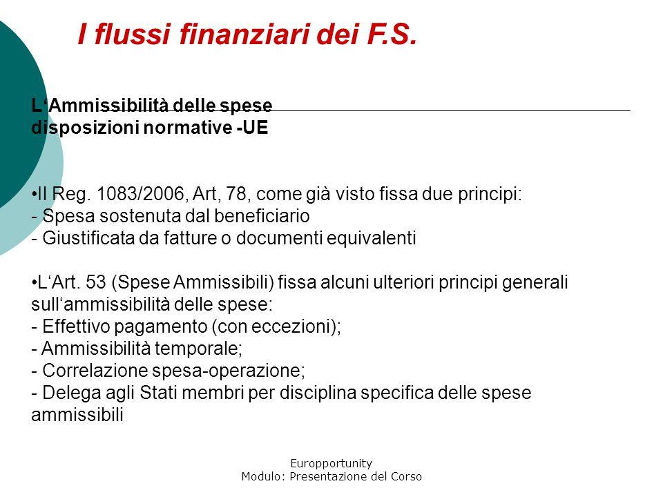 Europportunity Modulo: Presentazione del Corso I flussi finanziari dei F.S. LAmmissibilità delle spese disposizioni normative -UE Il Reg. 1083/2006, A