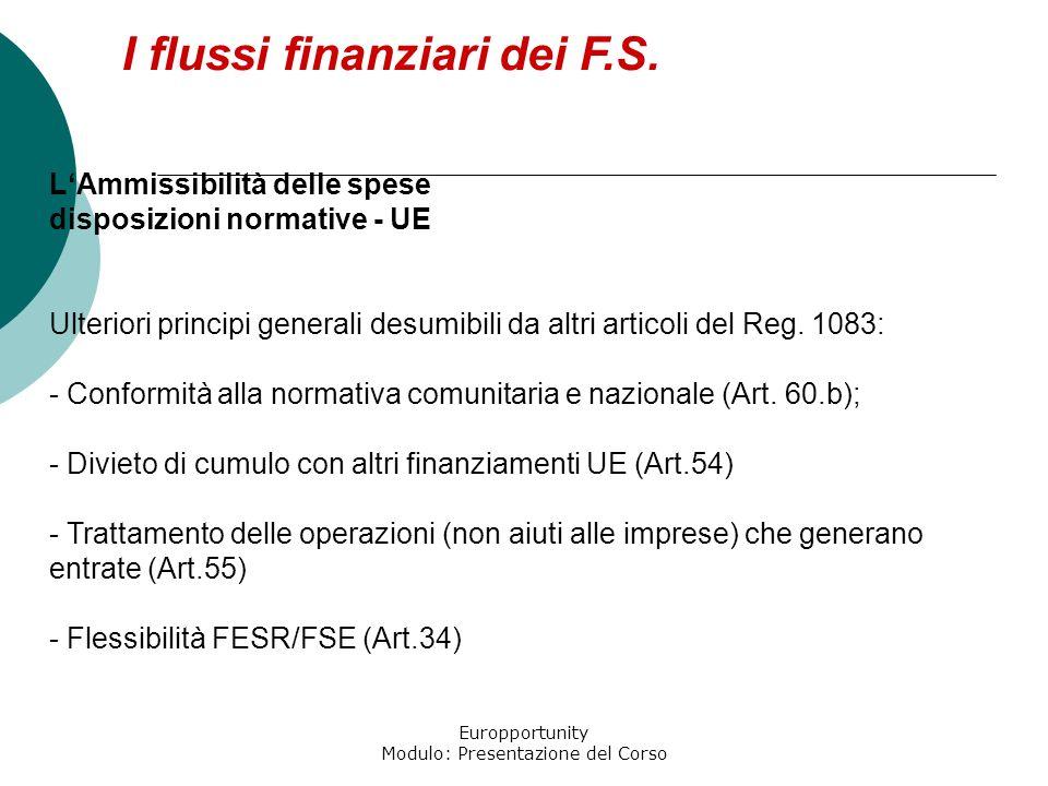 Europportunity Modulo: Presentazione del Corso I flussi finanziari dei F.S. LAmmissibilità delle spese disposizioni normative - UE Ulteriori principi