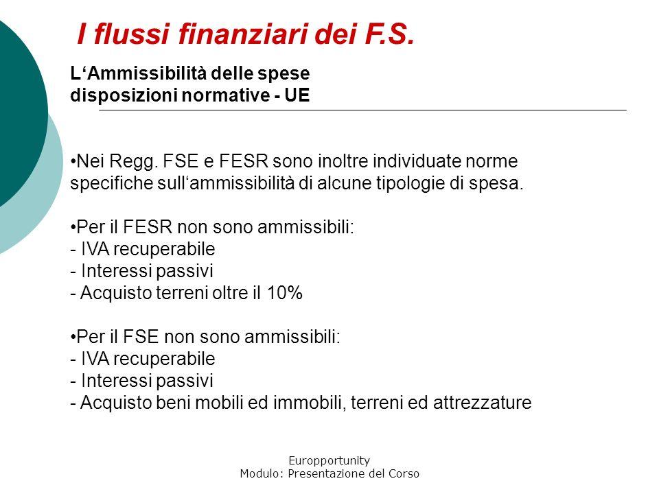 Europportunity Modulo: Presentazione del Corso I flussi finanziari dei F.S. LAmmissibilità delle spese disposizioni normative - UE Nei Regg. FSE e FES