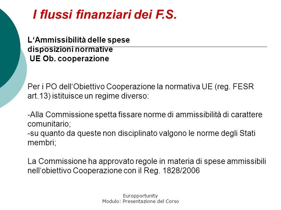 Europportunity Modulo: Presentazione del Corso I flussi finanziari dei F.S. LAmmissibilità delle spese disposizioni normative UE Ob. cooperazione Per