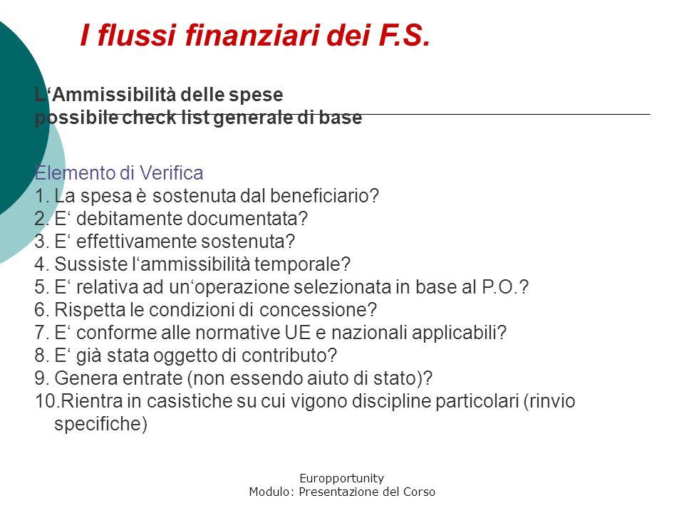 Europportunity Modulo: Presentazione del Corso I flussi finanziari dei F.S. LAmmissibilità delle spese possibile check list generale di base Elemento