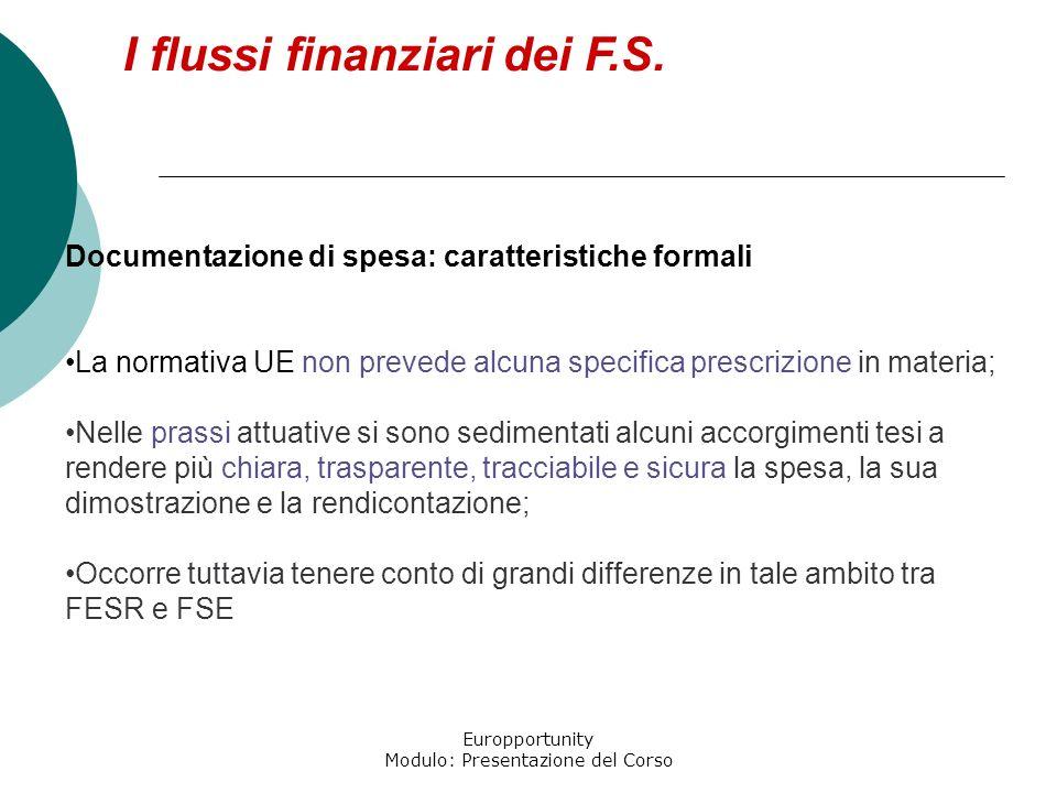 Europportunity Modulo: Presentazione del Corso I flussi finanziari dei F.S. Prova di livello elevato Il pagamento è attestato dal pagatore, da un terz