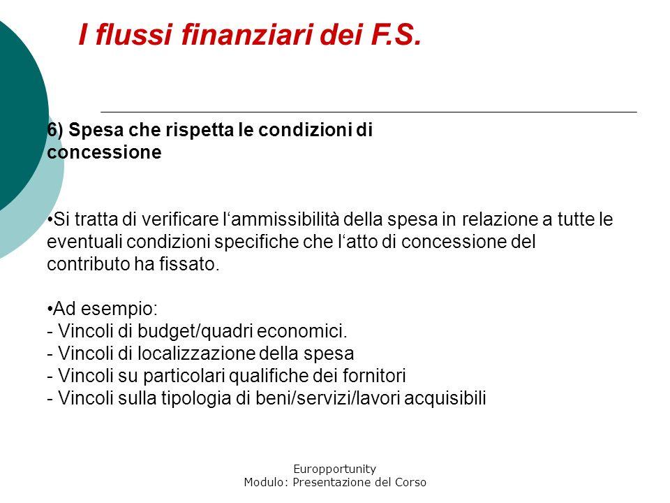 Europportunity Modulo: Presentazione del Corso I flussi finanziari dei F.S. 6) Spesa che rispetta le condizioni di concessione Si tratta di verificare