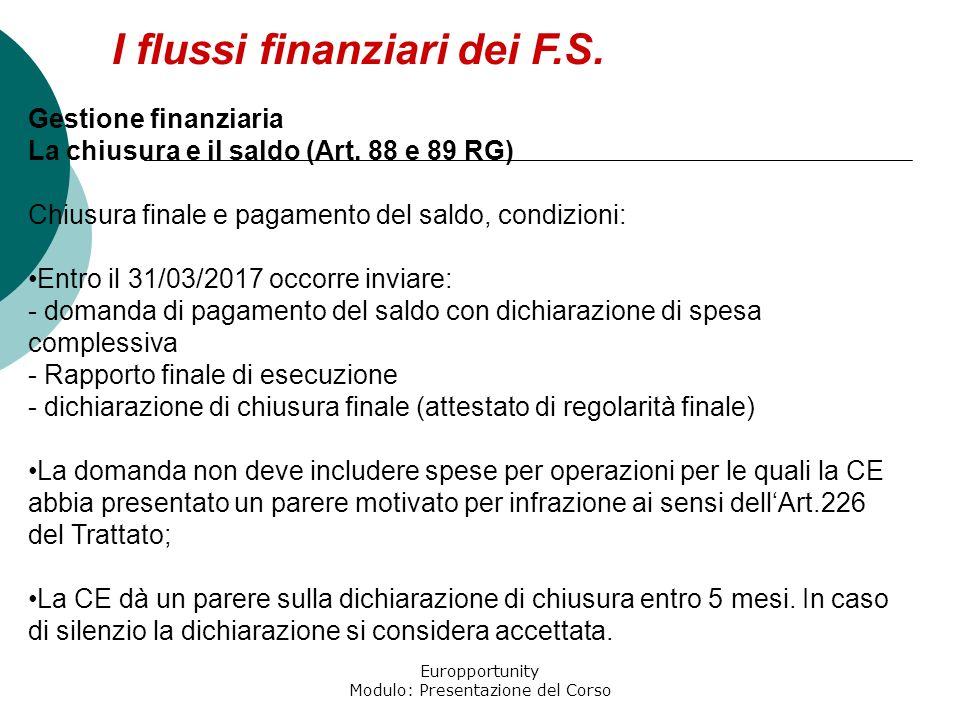 Europportunity Modulo: Presentazione del Corso I flussi finanziari dei F.S. Gestione finanziaria La chiusura e il saldo (Art. 88 e 89 RG) Chiusura fin
