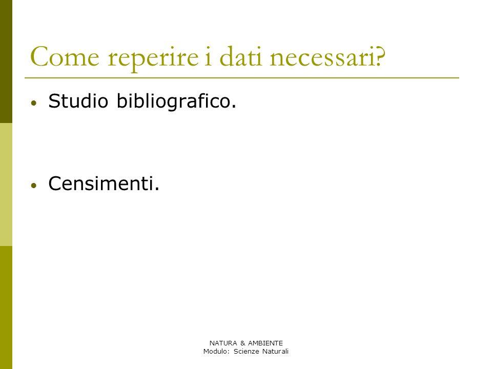 NATURA & AMBIENTE Modulo: Scienze Naturali Come reperire i dati necessari? Studio bibliografico. Censimenti.