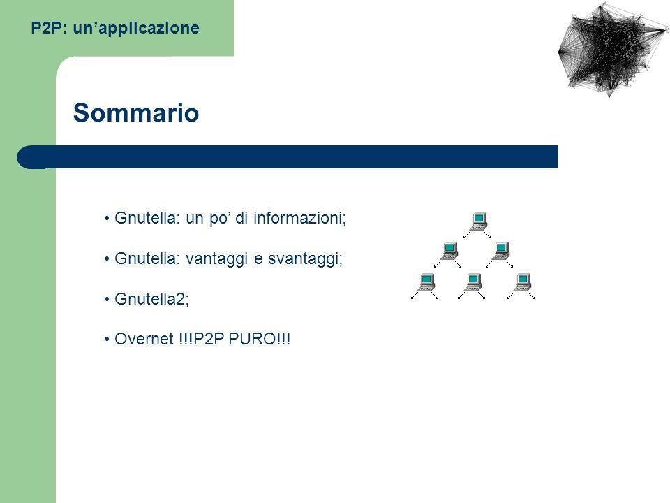 P2P: unapplicazione Gnutella: un po di informazioni; Gnutella: vantaggi e svantaggi; Gnutella2; Overnet !!!P2P PURO!!! Sommario