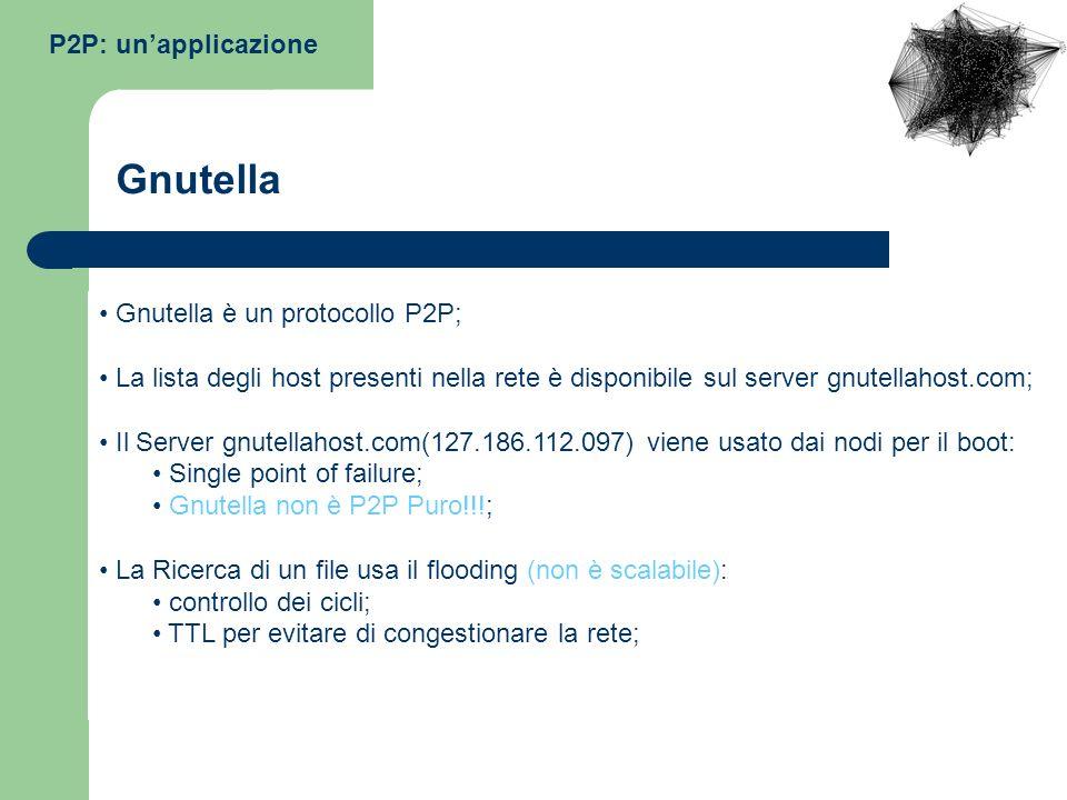 P2P: unapplicazione Gnutella è un protocollo P2P; La lista degli host presenti nella rete è disponibile sul server gnutellahost.com; Il Server gnutell