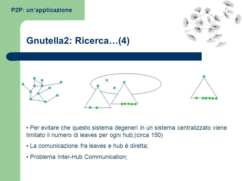 P2P: unapplicazione Gnutella2: Ricerca…(4) Per evitare che questo sistema degeneri in un sistema centralizzato viene limitato il numero di leaves per
