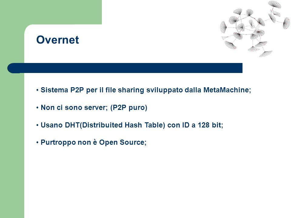 Overnet Sistema P2P per il file sharing sviluppato dalla MetaMachine; Non ci sono server; (P2P puro) Usano DHT(Distribuited Hash Table) con ID a 128 b