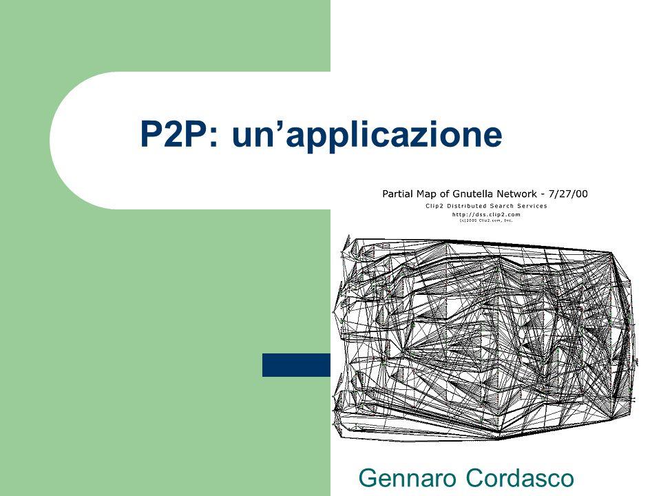 Tanto per intenderci…(1) P2P: unapplicazione Le applicazioni P2P sono costituite da tre fasi principali: boot; (nessuno o quasi fa boot P2P) lookup; (pochi sono P2P, alcuni usano SuperPeer) scambio di file; (sono tutti P2P)