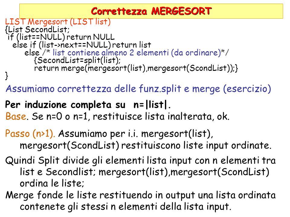 Correttezza MERGESORT LIST Mergesort (LIST list) {List SecondList; if (list==NULL) return NULL else if (list->next==NULL) return list else /* list contiene almeno 2 elementi (da ordinare)*/ {SecondList=split(list); return merge(mergesort(list),mergesort(ScondList));} } Assumiamo correttezza delle funz.split e merge (esercizio) Per induzione completa su n=|list|.