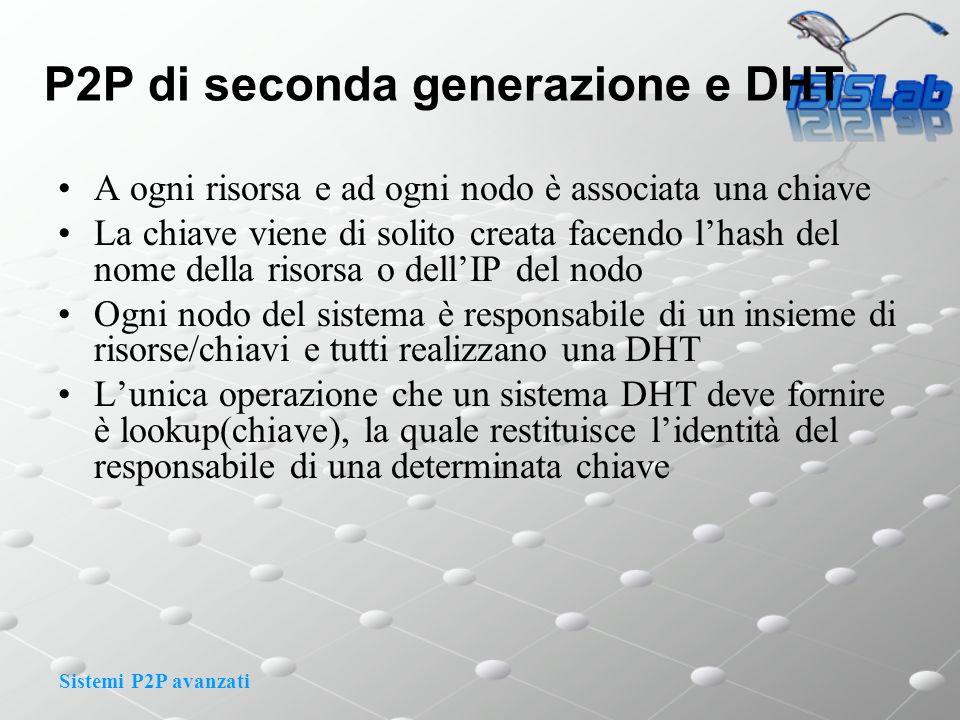 Sistemi P2P avanzati P2P di seconda generazione e DHT A ogni risorsa e ad ogni nodo è associata una chiave La chiave viene di solito creata facendo lh