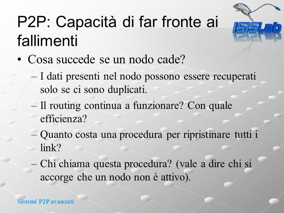 Sistemi P2P avanzati P2P: Capacità di far fronte ai fallimenti Cosa succede se un nodo cade.