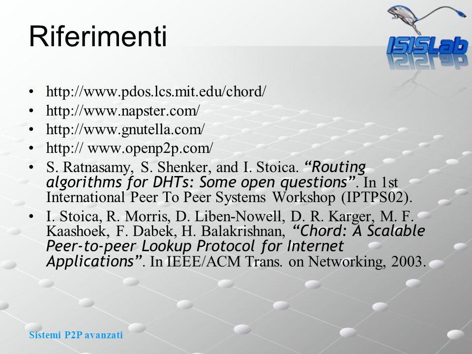 Sistemi P2P avanzati Riferimenti http://www.pdos.lcs.mit.edu/chord/ http://www.napster.com/ http://www.gnutella.com/ http:// www.openp2p.com/ S. Ratna