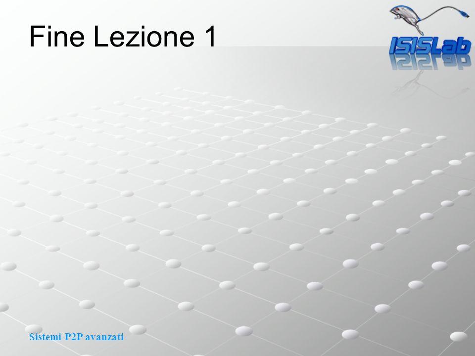 Sistemi P2P avanzati Fine Lezione 1