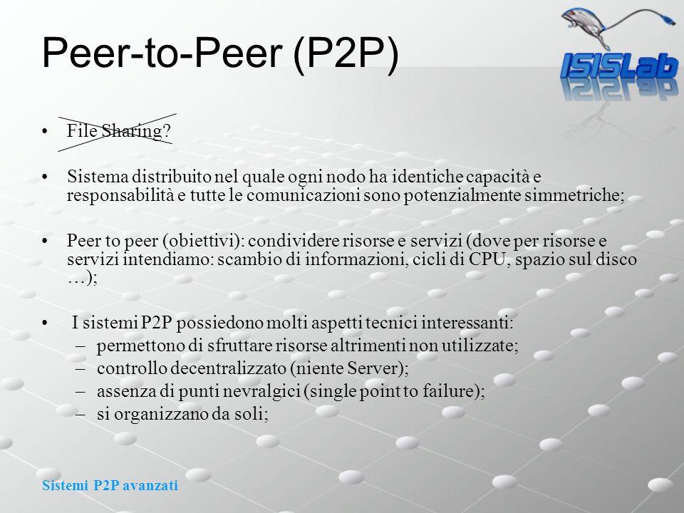Sistemi P2P avanzati Peer-to-Peer (P2P) File Sharing? Sistema distribuito nel quale ogni nodo ha identiche capacità e responsabilità e tutte le comuni