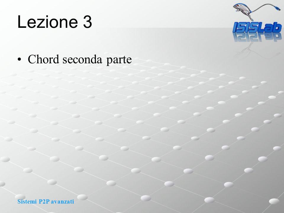Sistemi P2P avanzati Lezione 3 Chord seconda parte