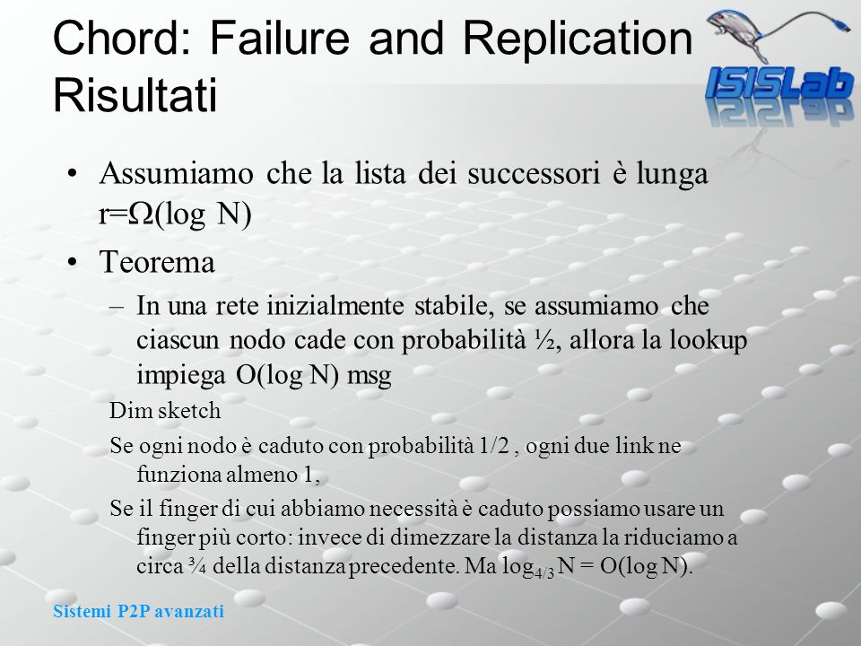 Sistemi P2P avanzati Chord: Failure and Replication Risultati Assumiamo che la lista dei successori è lunga r= (log N) Teorema –In una rete inizialmen